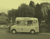 Twickenham Ice Cream Van in B&W