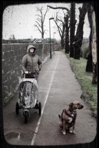 Michelle + baby + dog
