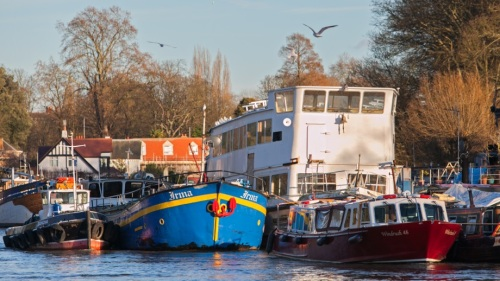Boats at Eel Pie Island & blue sky [copyright: Garth Tucker]