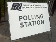 polling station sign in lbrut