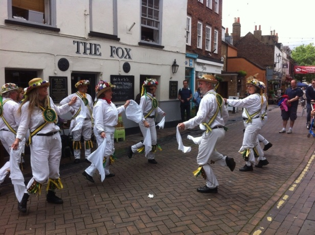 Morris Dancers outside The Fox, Twickenham