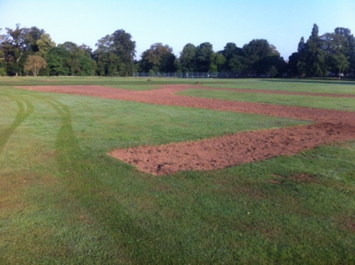 Levelled & partly turfed.