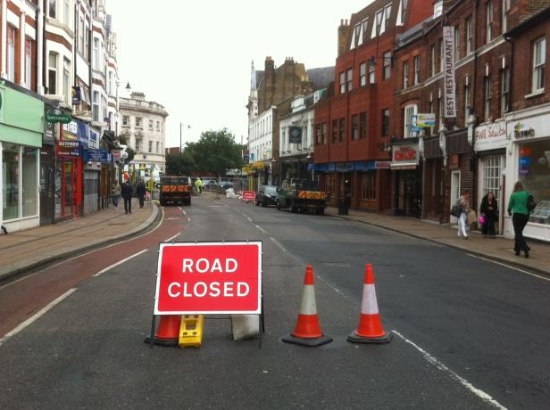 Road closed, Twickenham