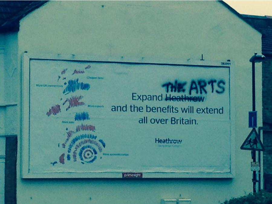 'Expand Heathrow' poster in Twickenham [courtesy of & copyright: Jodie Holland aka @dutchmrs on Twitter]