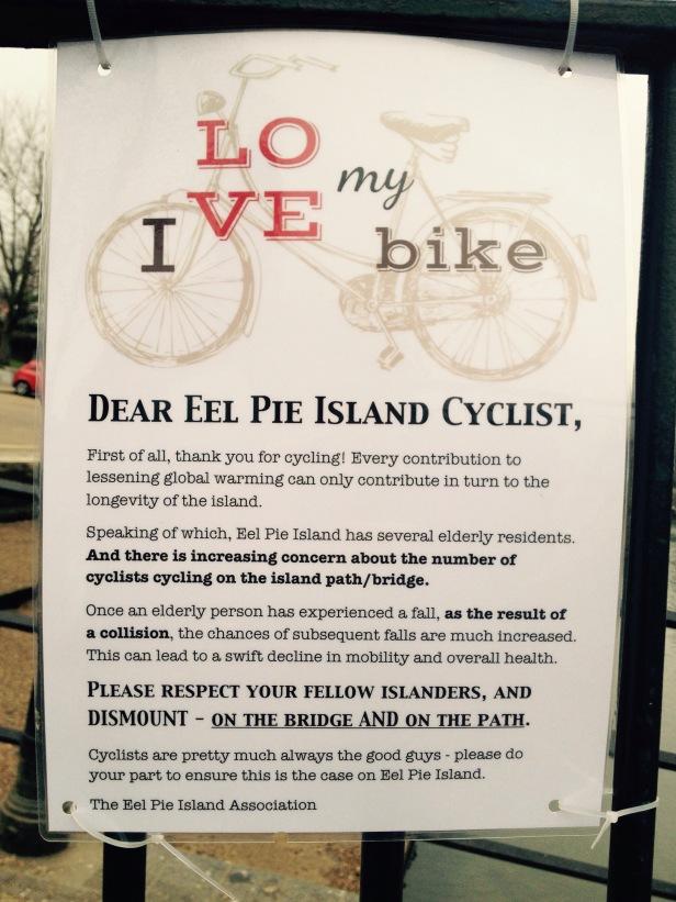 Sign on Eel Pie Island bridge