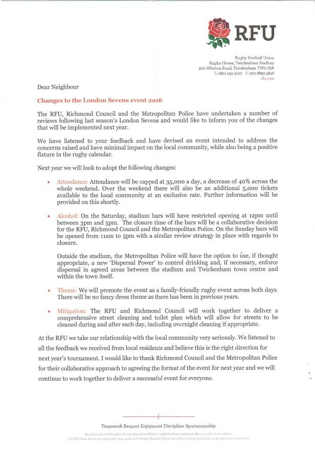Letter from RFU